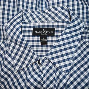 Marc Ecko Cut & Sew Blue White Plaid Checks Shirt